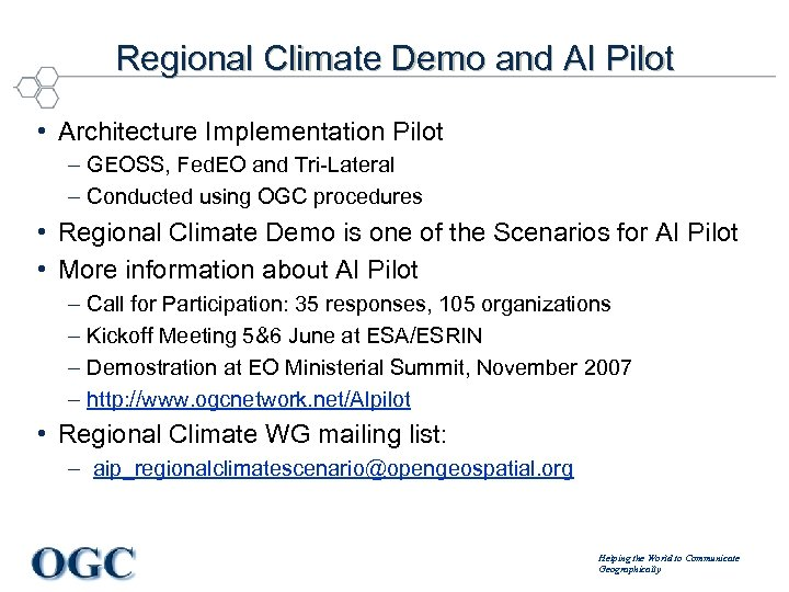 Regional Climate Demo and AI Pilot • Architecture Implementation Pilot – GEOSS, Fed. EO