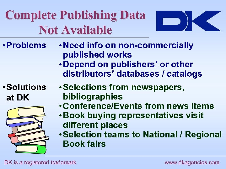 Complete Publishing Data Not Available • Problems • Need info on non-commercially published works