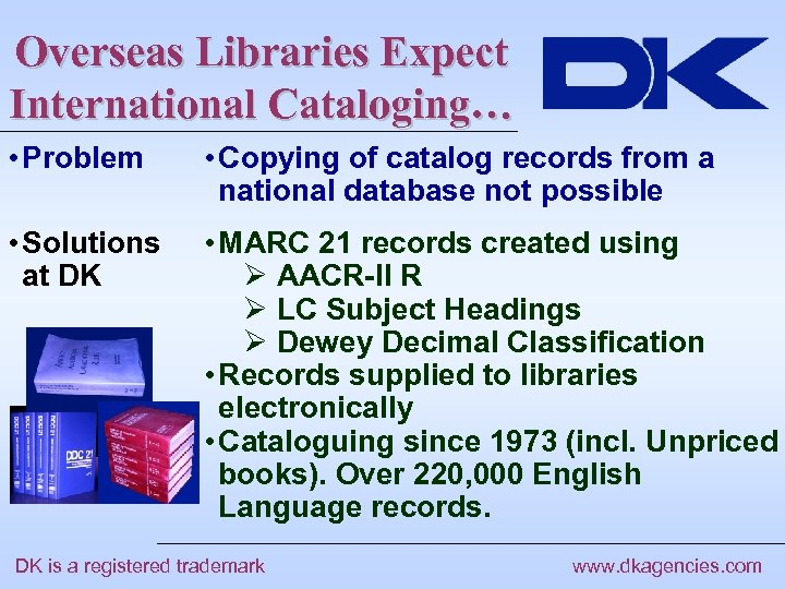 Overseas Libraries Expect International Cataloging… • Problem • Copying of catalog records from a
