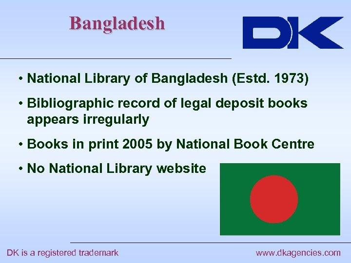 Bangladesh • National Library of Bangladesh (Estd. 1973) • Bibliographic record of legal deposit