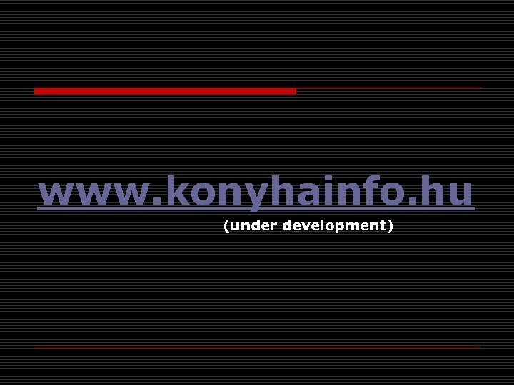 www. konyhainfo. hu (under development)