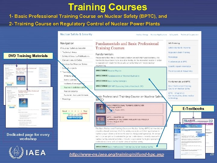 Training Courses 1 - Basic Professional Training Course on Nuclear Safety (BPTC), and 2