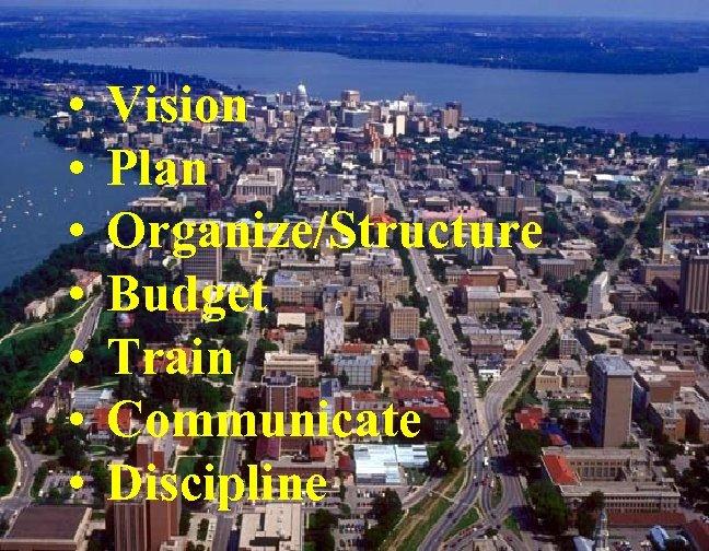 • • Vision Plan Organize/Structure Budget Train Communicate Discipline