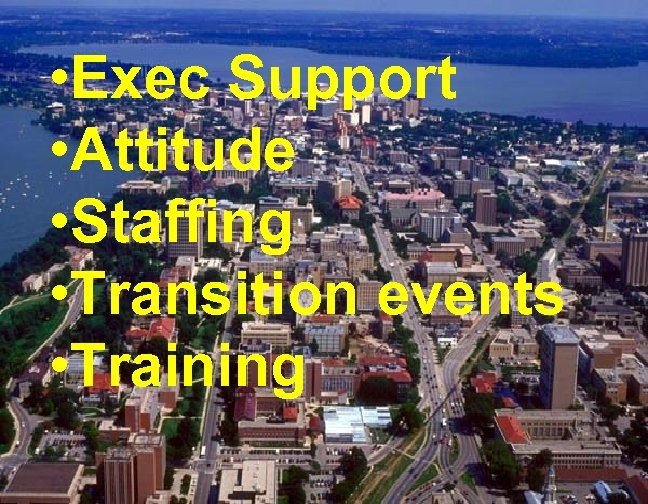 • Exec Support • Attitude • Staffing • Transition events • Training