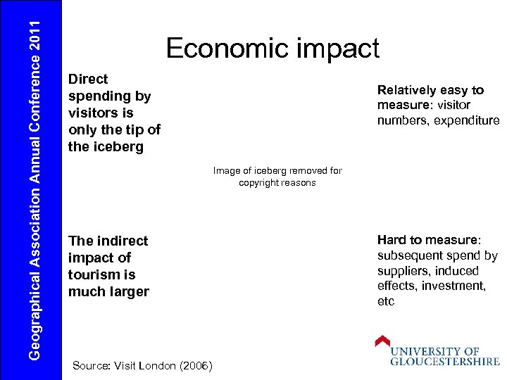 Geographical Association Annual Conference 2011 Economic impact Direct spending by visitors is only the