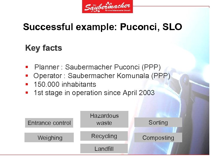Successful example: Puconci, SLO Key facts § § Planner : Saubermacher Puconci (PPP) Operator