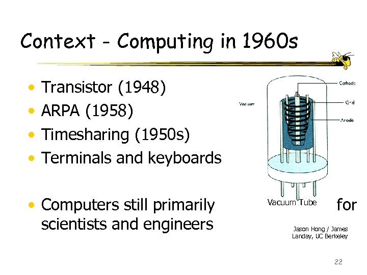 Context - Computing in 1960 s • • Transistor (1948) ARPA (1958) Timesharing (1950