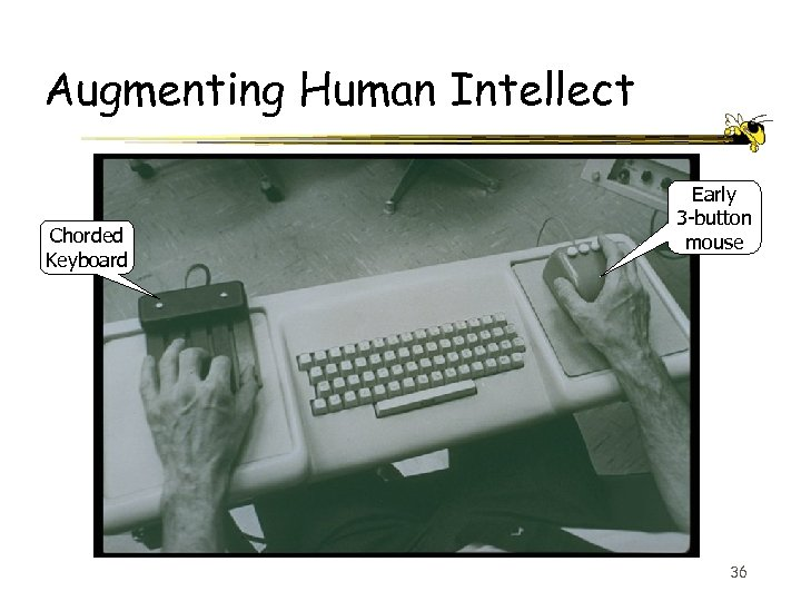 Augmenting Human Intellect Chorded Keyboard Early 3 -button mouse 36