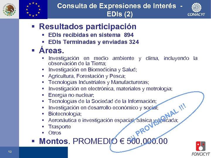 Consulta de Expresiones de Interés EDIs (2) § Resultados participación § EDIs recibidas en