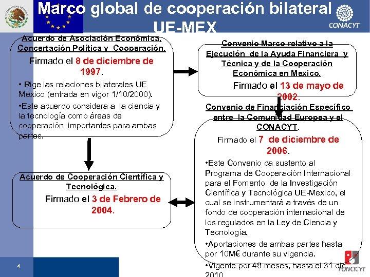 Marco global de cooperación bilateral UE-MEX Acuerdo de Asociación Económica, Concertación Política y Cooperación.