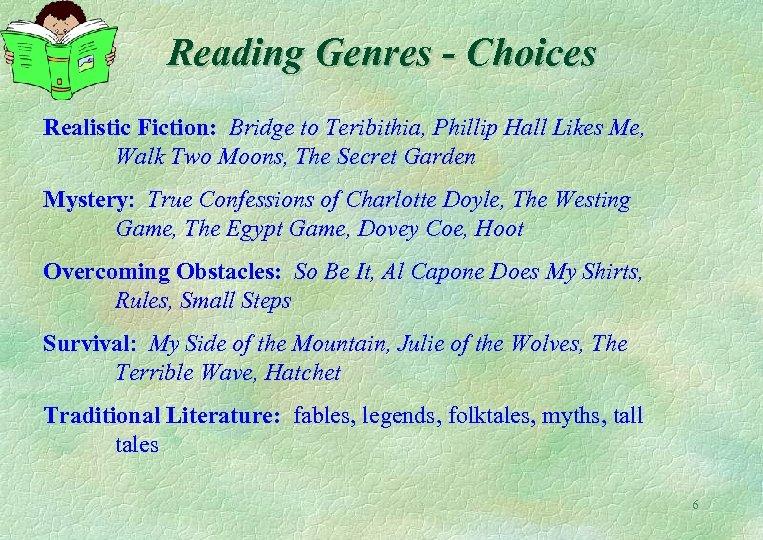 Reading Genres - Choices Realistic Fiction: Bridge to Teribithia, Phillip Hall Likes Me, Walk