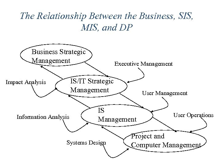 The Relationship Between the Business, SIS, MIS, and DP Business Strategic Management Executive Management
