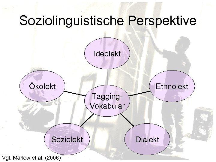 Soziolinguistische Perspektive Ideolekt Ökolekt Ethnolekt Tagging. Vokabular Soziolekt Vgl. Marlow et al. (2006) Dialekt