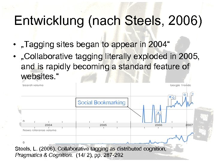 """Entwicklung (nach Steels, 2006) • """"Tagging sites began to appear in 2004"""" • """"Collaborative"""