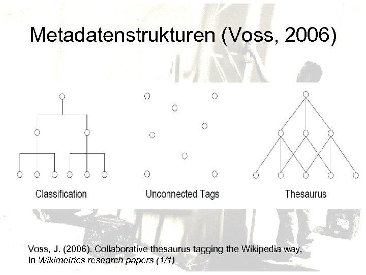 Metadatenstrukturen (Voss, 2006) Voss, J. (2006). Collaborative thesaurus tagging the Wikipedia way, In Wikimetrics