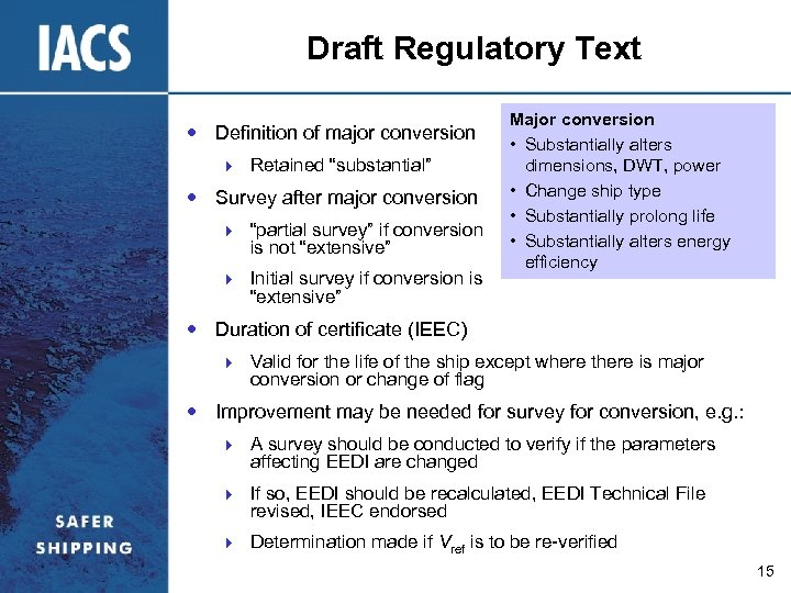 """Draft Regulatory Text Definition of major conversion } Retained """"substantial"""" Survey after major conversion"""