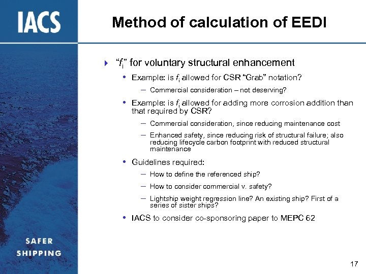 """Method of calculation of EEDI } """"fi"""" for voluntary structural enhancement • Example: is"""