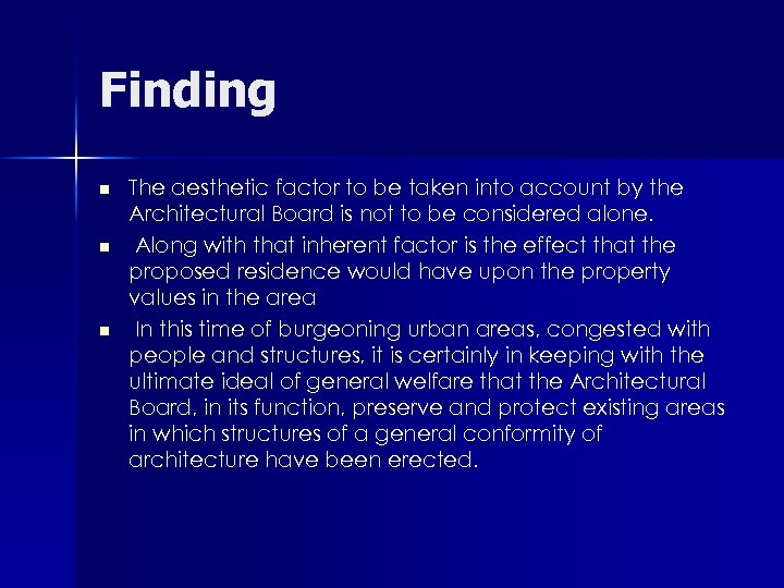 Finding n n n The aesthetic factor to be taken into account by the