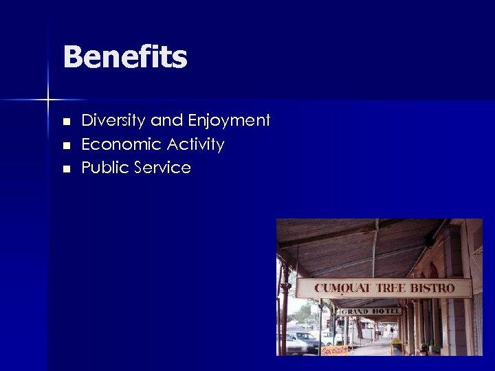 Benefits n n n Diversity and Enjoyment Economic Activity Public Service