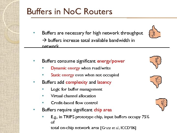Buffers in No. C Routers • Buffers are necessary for high network throughput buffers