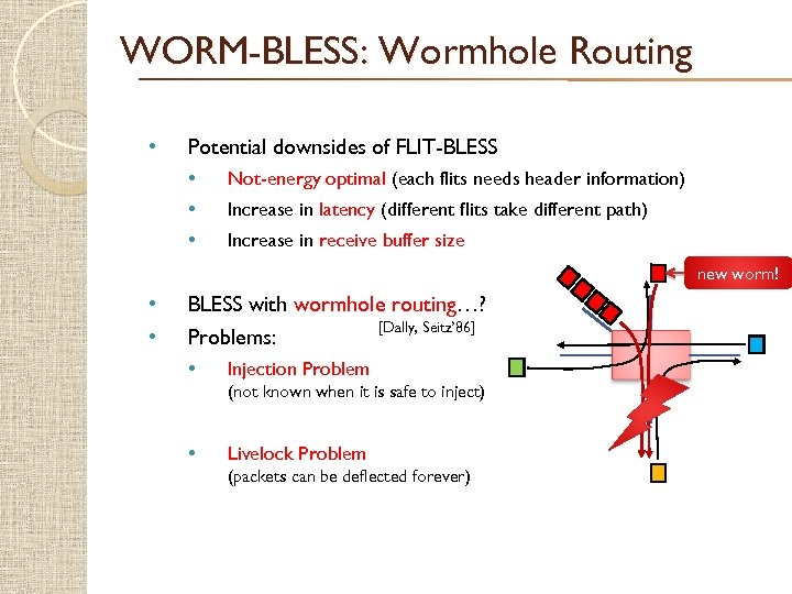 WORM-BLESS: Wormhole Routing • Potential downsides of FLIT-BLESS • • • Not-energy optimal (each
