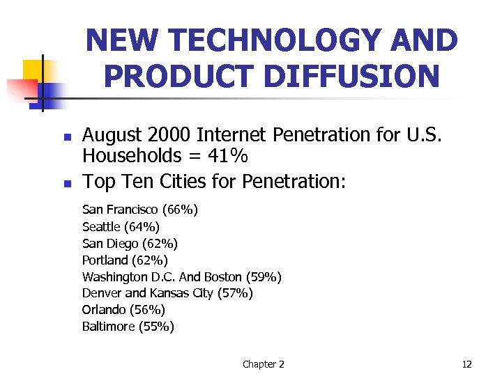 NEW TECHNOLOGY AND PRODUCT DIFFUSION n n August 2000 Internet Penetration for U. S.