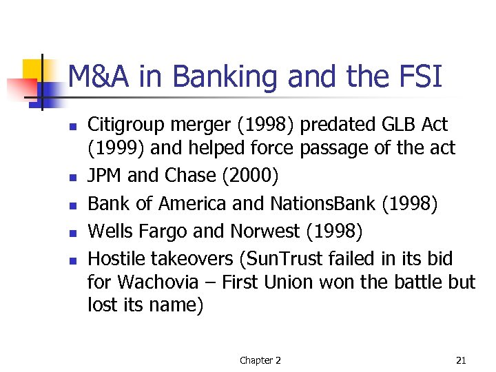 M&A in Banking and the FSI n n n Citigroup merger (1998) predated GLB