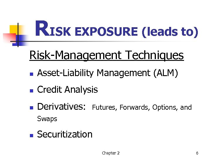 RISK EXPOSURE (leads to) Risk-Management Techniques n Asset-Liability Management (ALM) n Credit Analysis n
