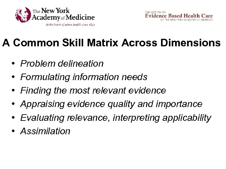 A Common Skill Matrix Across Dimensions • • • Problem delineation Formulating information needs