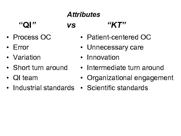 "Attributes ""QI"" • • • vs Process OC Error Variation Short turn around QI"