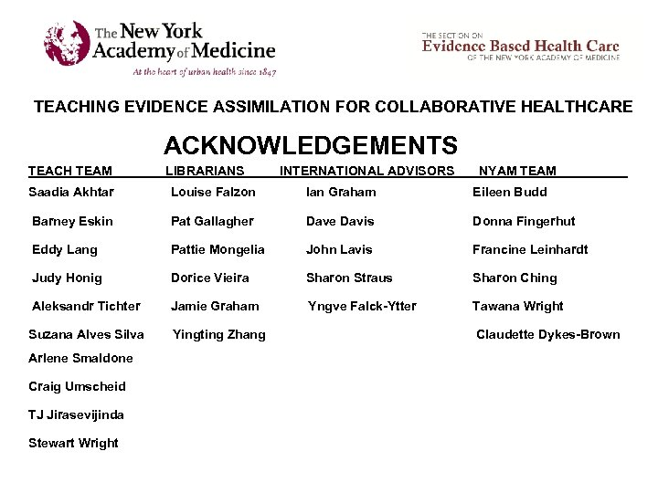 TEACHING EVIDENCE ASSIMILATION FOR COLLABORATIVE HEALTHCARE ACKNOWLEDGEMENTS TEACH TEAM LIBRARIANS INTERNATIONAL ADVISORS NYAM TEAM