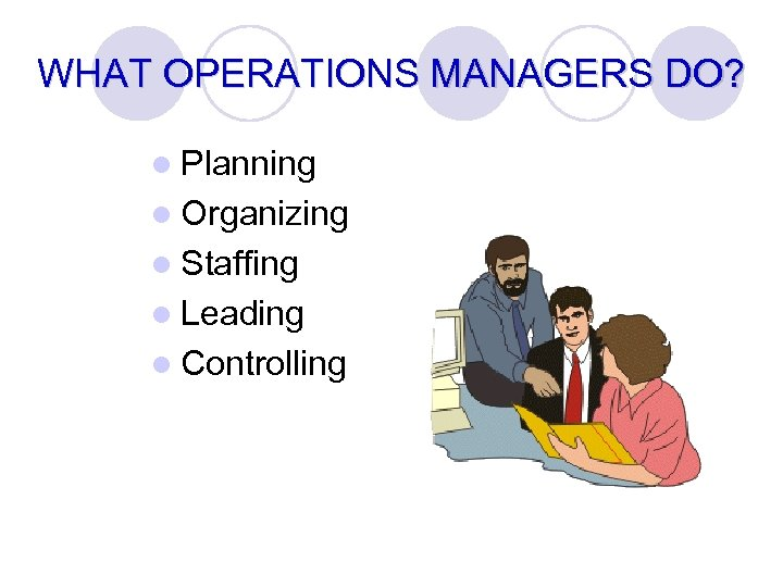 WHAT OPERATIONS MANAGERS DO? l Planning l Organizing l Staffing l Leading l Controlling