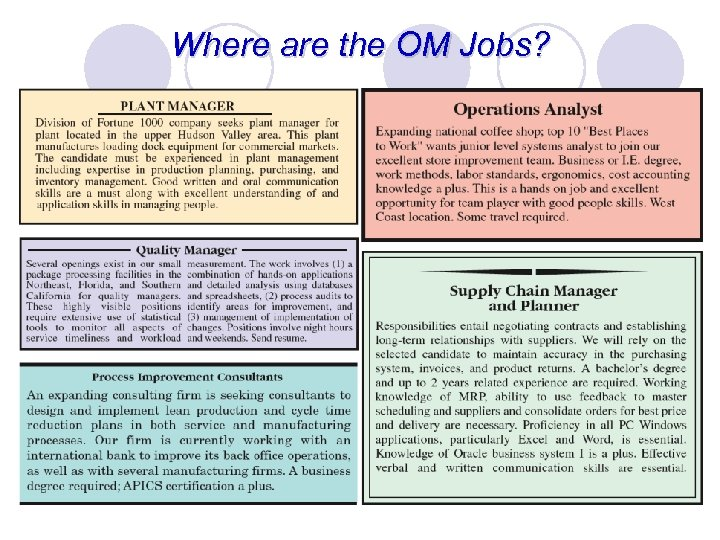 Where are the OM Jobs?