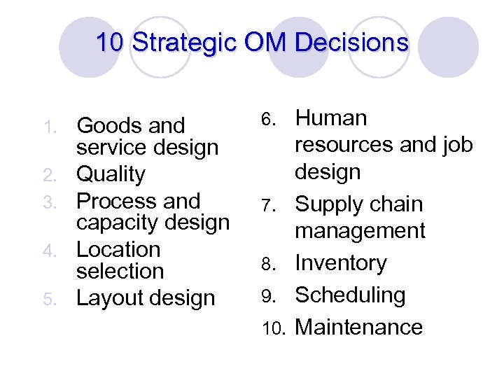 10 Strategic OM Decisions 1. 2. 3. 4. 5. Goods and service design Quality