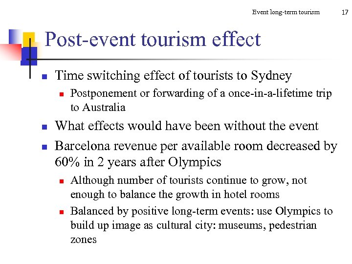 Event long-term tourism Post-event tourism effect n Time switching effect of tourists to Sydney
