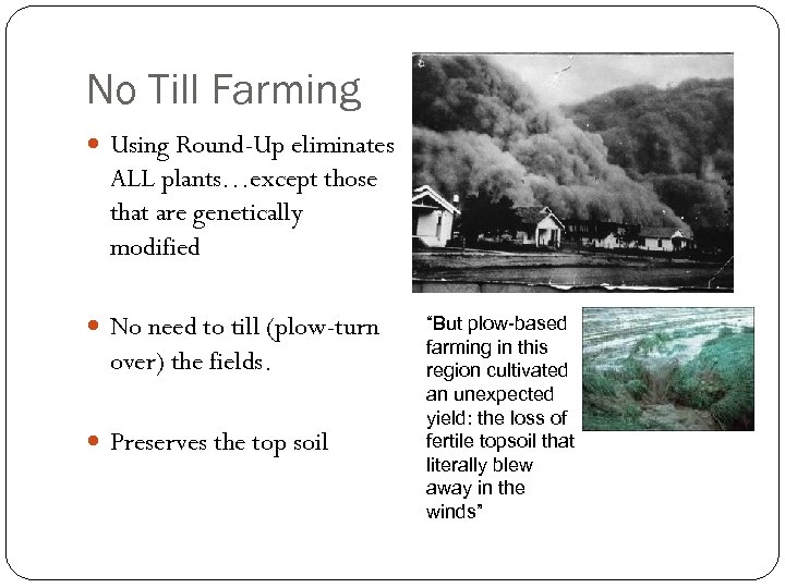 No Till Farming Using Round-Up eliminates ALL plants…except those that are genetically modified No