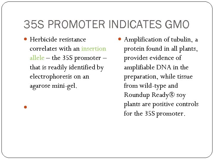 35 S PROMOTER INDICATES GMO Herbicide resistance correlates with an insertion allele – the