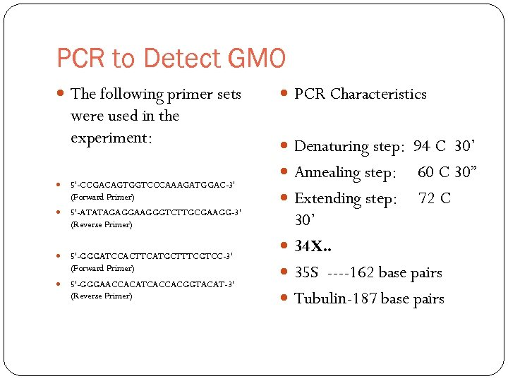 PCR to Detect GMO The following primer sets were used in the experiment: 5'-CCGACAGTGGTCCCAAAGATGGAC-3'