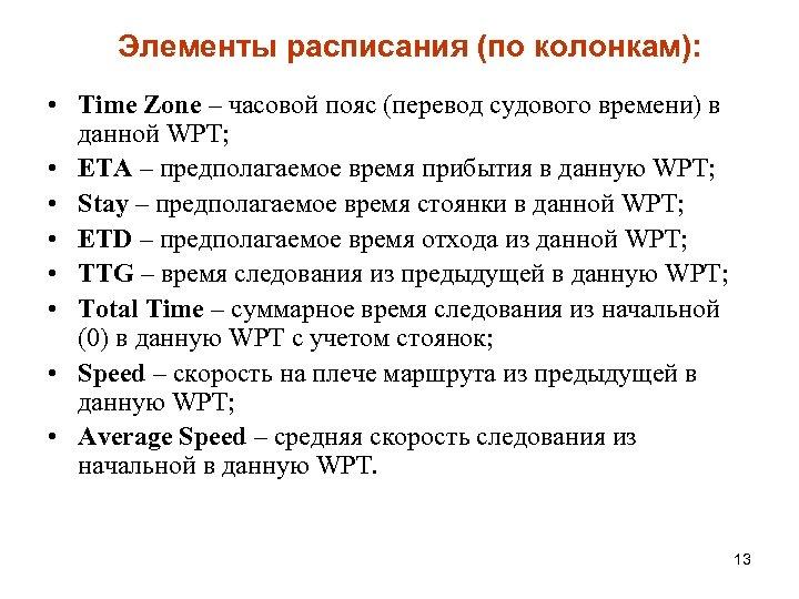 Элементы расписания (по колонкам): • Time Zone – часовой пояс (перевод судового времени) в