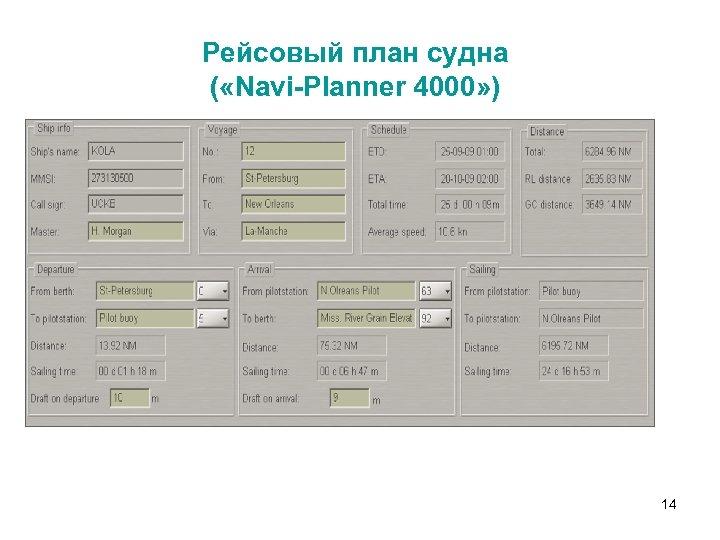Рейсовый план судна ( «Navi-Planner 4000» ) 14