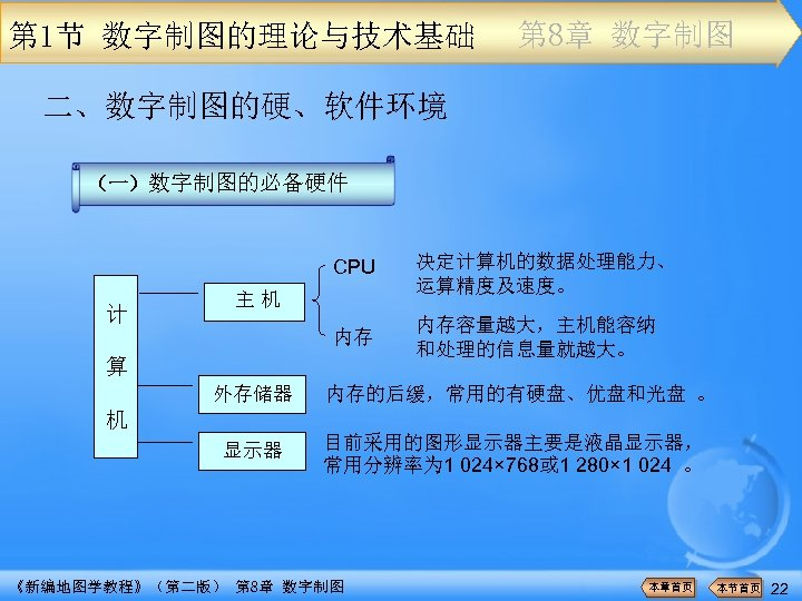 第 1节 数字制图的理论与技术基础 第 8章 数字制图 二、数字制图的硬、软件环境 (一)数字制图的必备硬件 CPU 内存 计 决定计算机的数据处理能力、 运算精度及速度。 内存容量越大,主机能容纳