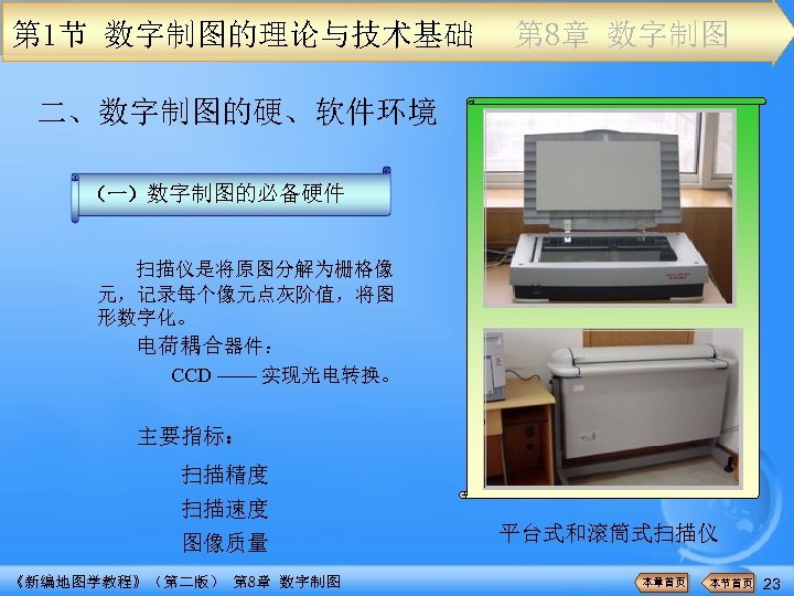 第 1节 数字制图的理论与技术基础 第 8章 数字制图 二、数字制图的硬、软件环境 (一)数字制图的必备硬件 扫描仪是将原图分解为栅格像 元,记录每个像元点灰阶值,将图 形数字化。 电荷耦合器件: CCD ——