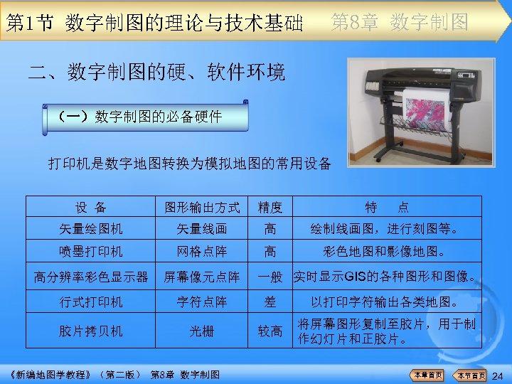 第 1节 数字制图的理论与技术基础 第 8章 数字制图 二、数字制图的硬、软件环境 (一)数字制图的必备硬件 打印机是数字地图转换为模拟地图的常用设备 设 备 图形输出方式 精度 矢量绘图机