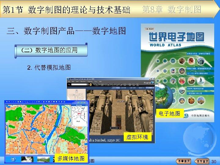 第 1节 数字制图的理论与技术基础 第 8章 数字制图 三、数字制图产品——数字地图 (二)数字地图的应用 2. 代替模拟地图 电子地图 虚拟环境 多媒体地图 《新编地图学教程》(第二版)