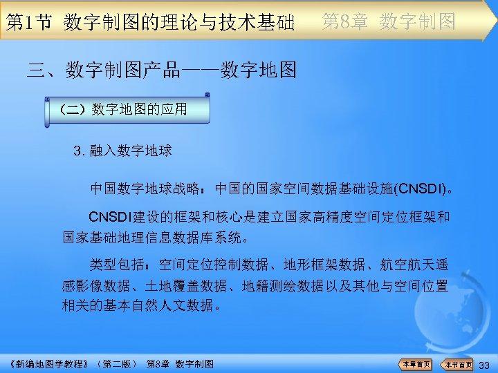 第 1节 数字制图的理论与技术基础 第 8章 数字制图 三、数字制图产品——数字地图 (二)数字地图的应用 3. 融入数字地球 中国数字地球战略:中国的国家空间数据基础设施(CNSDI)。 CNSDI建设的框架和核心是建立国家高精度空间定位框架和 国家基础地理信息数据库系统。 类型包括:空间定位控制数据、地形框架数据、航空航天遥