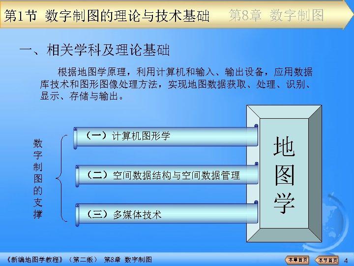 第 1节 数字制图的理论与技术基础 第 8章 数字制图 一、相关学科及理论基础 根据地图学原理,利用计算机和输入、输出设备,应用数据 库技术和图形图像处理方法,实现地图数据获取、处理、识别、 显示、存储与输出。 数 字 制 图