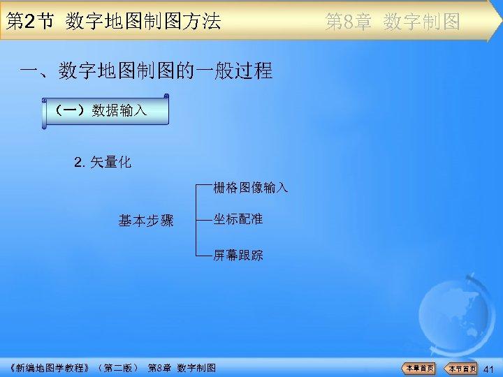 第 2节 数字地图制图方法 第 8章 数字制图 一、数字地图制图的一般过程 (一)数据输入 2. 矢量化 栅格图像输入 基本步骤 坐标配准 屏幕跟踪