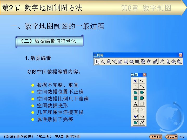 第 2节 数字地图制图方法 第 8章 数字制图 一、数字地图制图的一般过程 (二)数据编辑与符号化 1. 数据编辑 GIS空间数据编辑内容: l l l