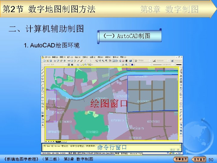 第 2节 数字地图制图方法 二、计算机辅助制图 第 8章 数字制图 (一)Auto. CAD制图 1. Auto. CAD绘图环境 绘图窗口 命令行窗口