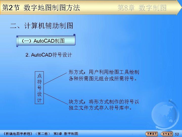 第 2节 数字地图制图方法 第 8章 数字制图 二、计算机辅助制图 (一)Auto. CAD制图 2. Auto. CAD符号设计 点 符
